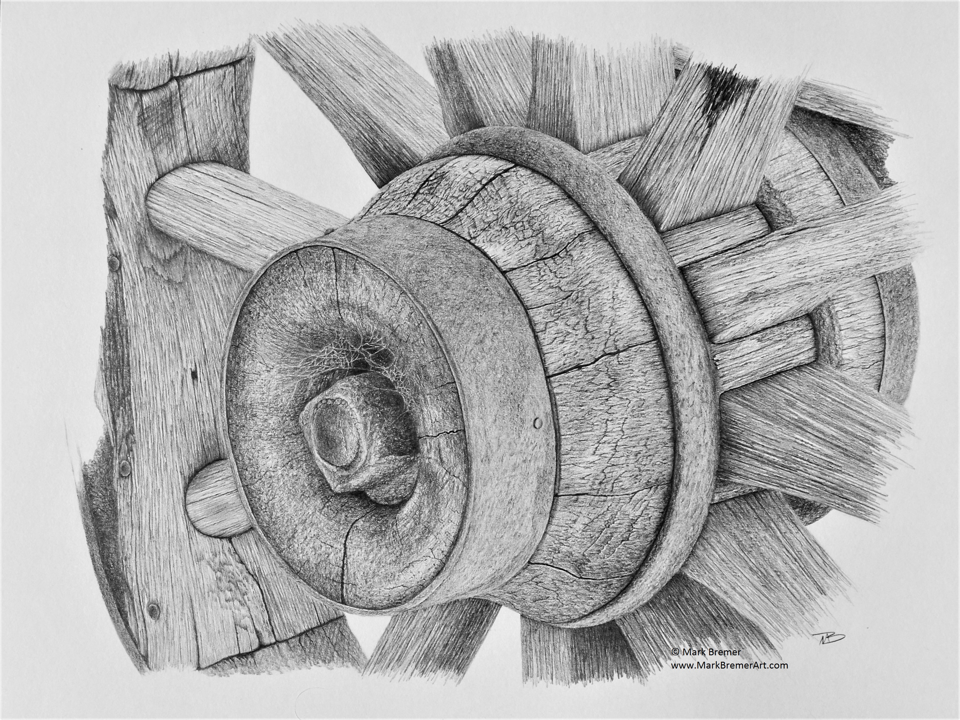 Pencil drawing old cartwheel mark bremer